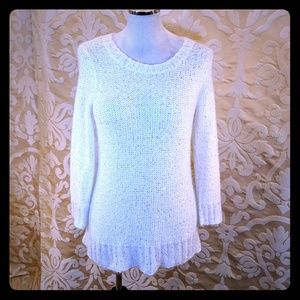 Limited silver sequin White festive sweater dress